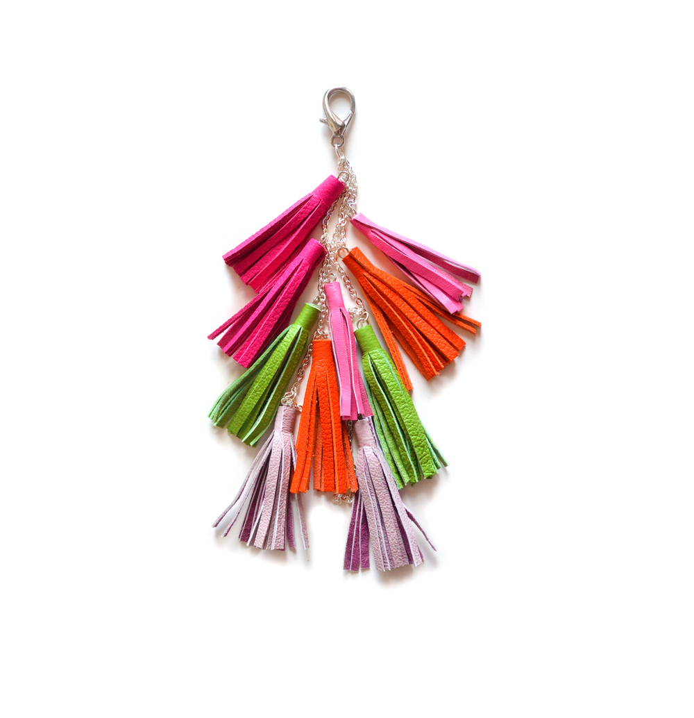 Leather Tassel Keychain, Fringe Purse Clip, Neon Tribal Accessories.jpg