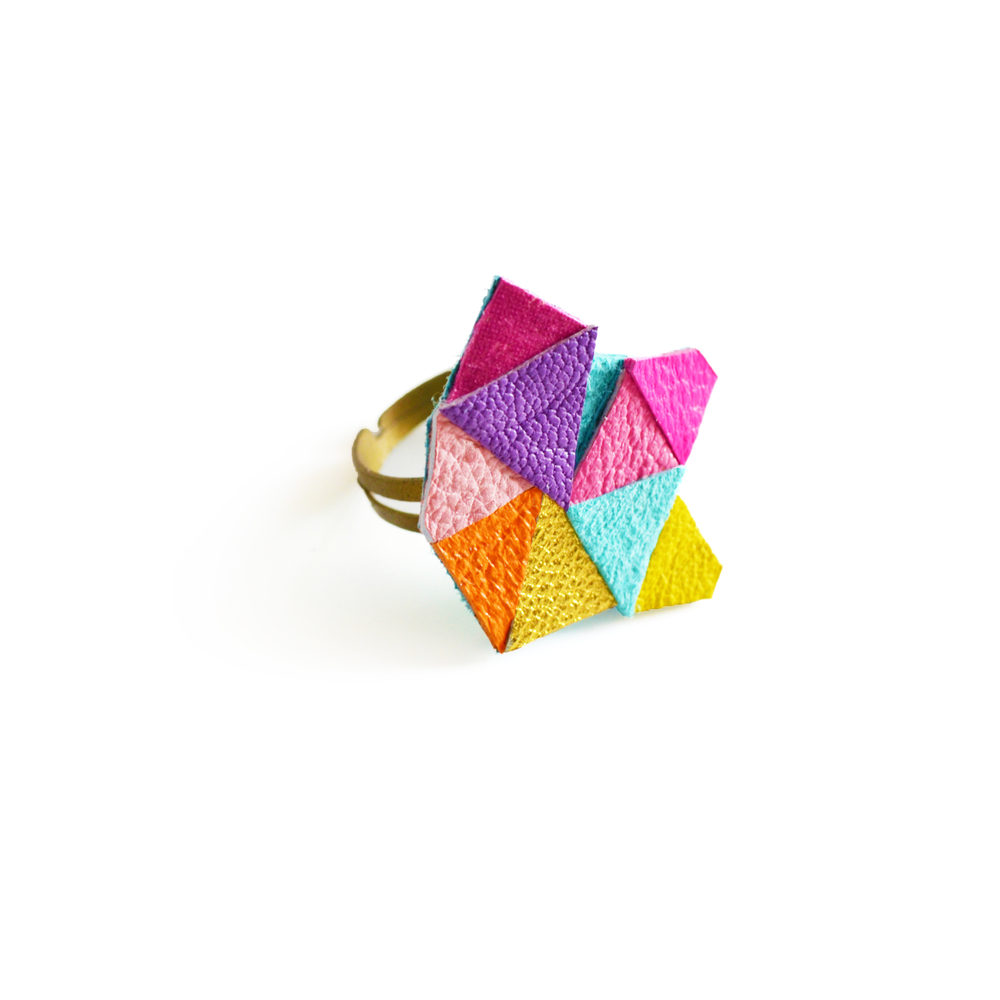 Neon Adjustable Ring Geometric Leather Triangle Prism Facets.jpg