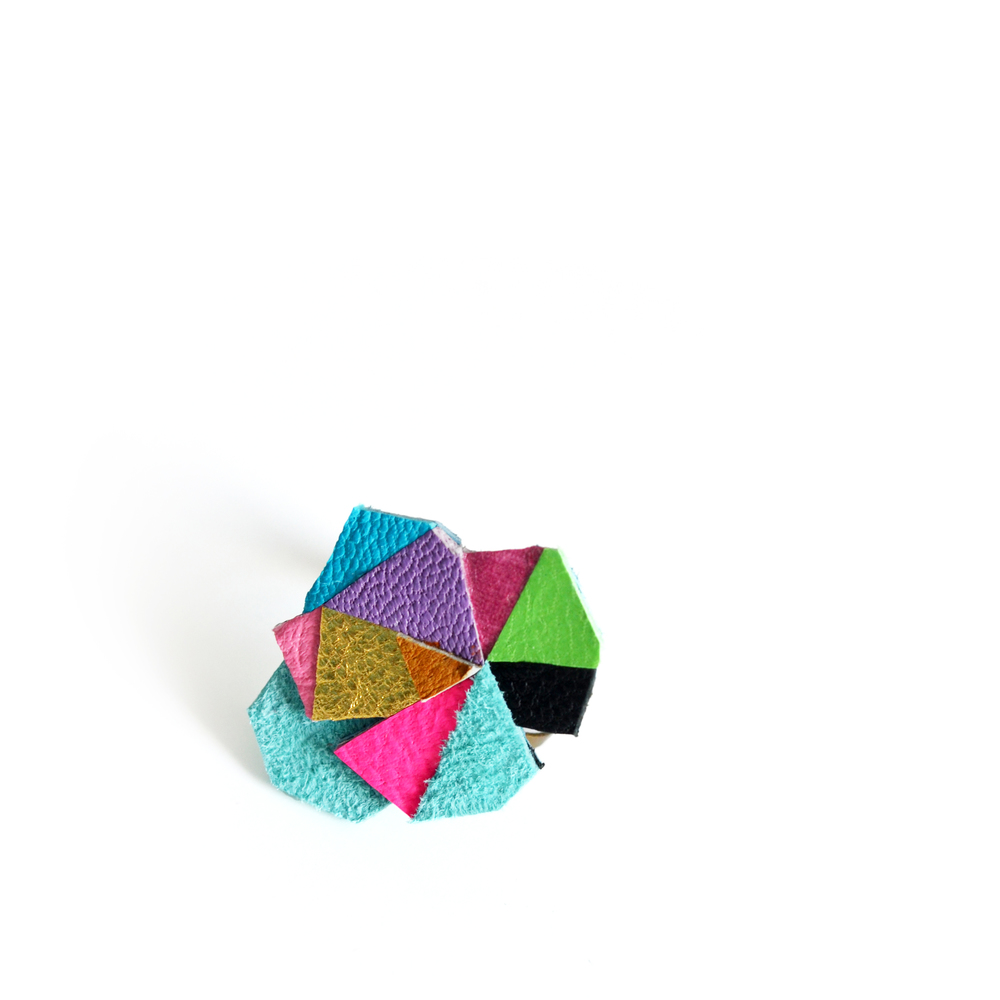 Neon Adjustable Ring Leather GeometricTriangle Prism Facets 2.jpg