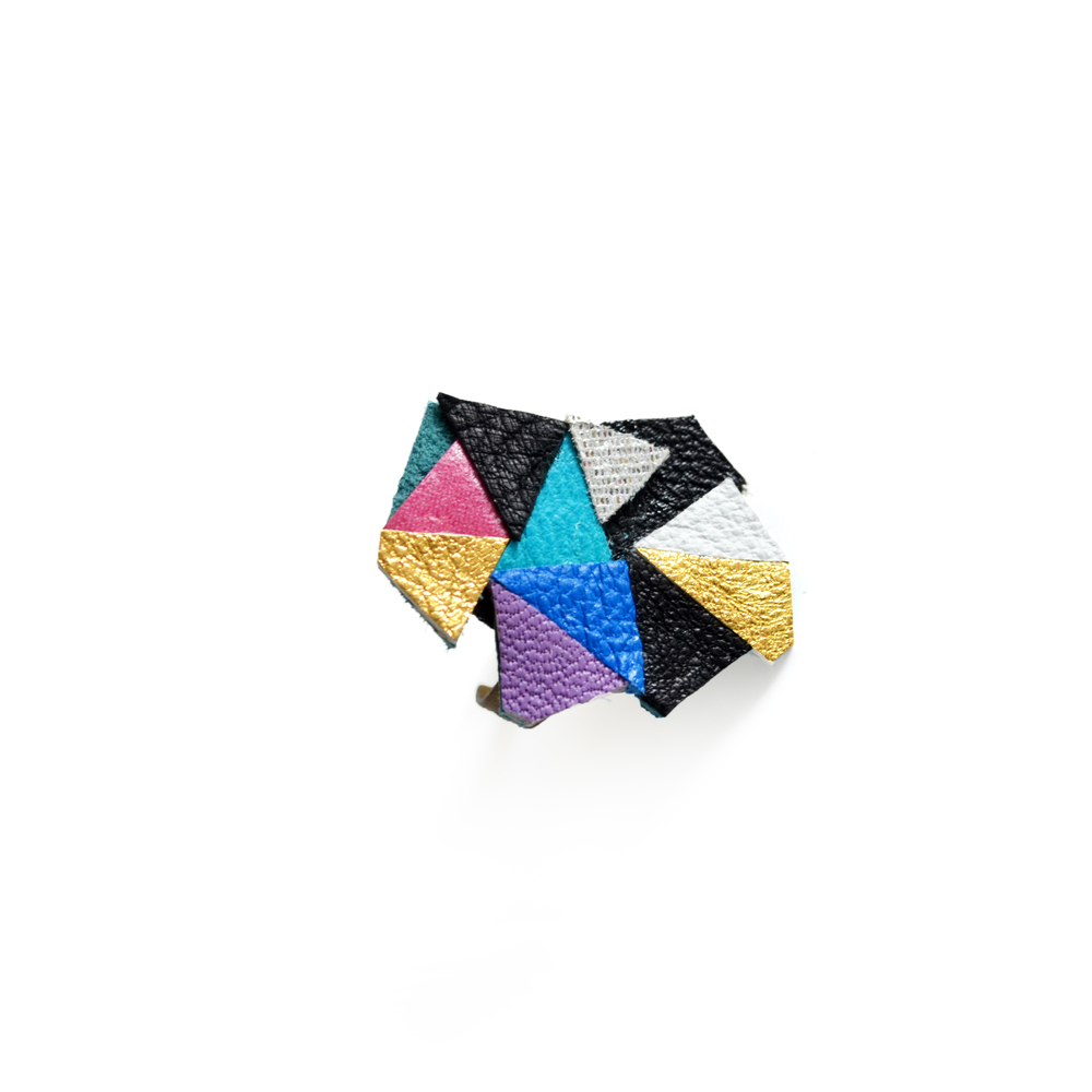 Adjustable Ring Geometric Leather Triangle Prism Gem 2.jpg