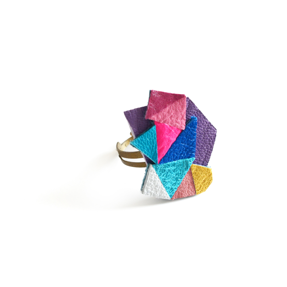 Neon Adjustable Ring Geometric Leather Triangle Prism Gem 2.jpg