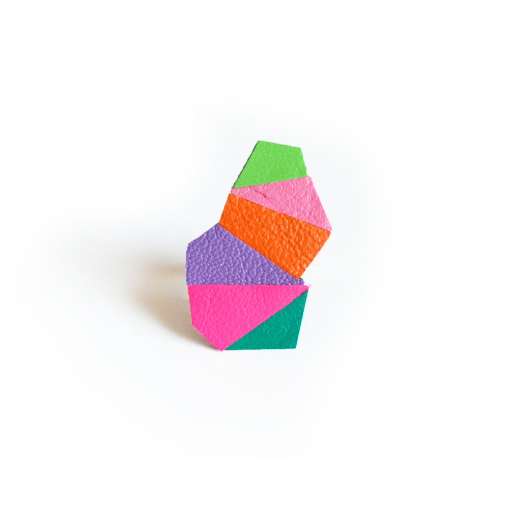 Geometric Leather Ring Neon Faceted Triangle Hot Pink Kaleidoscope Prism 7.jpg