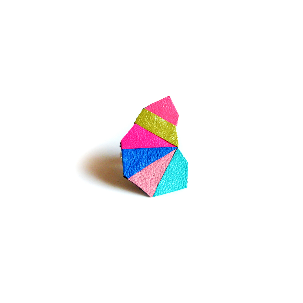 Geometric Leather Ring Neon Faceted Triangle Teal Kaleidoscope Prism 5.jpg