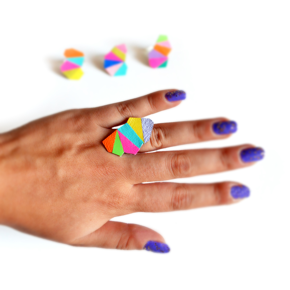 Geometric Leather Ring Neon Faceted Triangle Yellow Kaleidoscope Prism 4.jpg