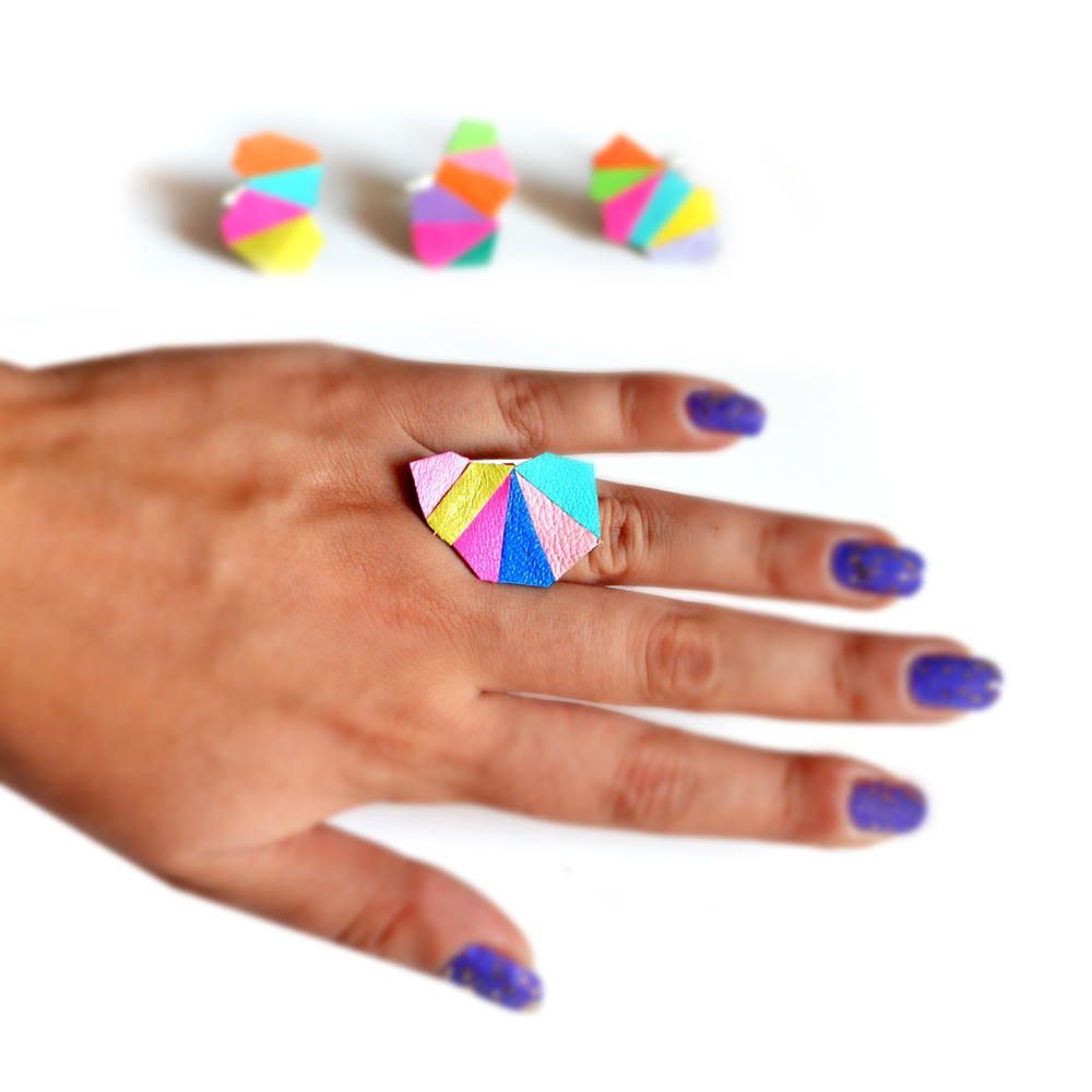 Geometric Leather Ring Neon Faceted Triangle Teal Kaleidoscope Prism 4.jpg