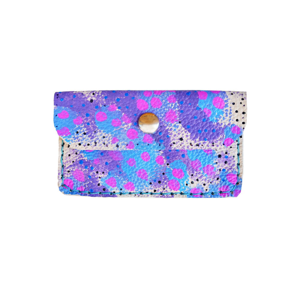 Blue Leather Pouch, Circle Pattern Coin Purse, Fuchsia and Purple Wallet, Small Bag, Painted Abstract Art Bag, Polka Dot Wallet, Business Card Holder.jpg