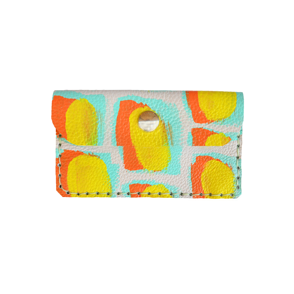 Mint Leather Pouch, Modern Pattern Coin Purse, Orange and Yellow Wallet, Small Bag, Painted Abstract Art Bag, Colorful Custom Wallet, Business Card Holder.jpg