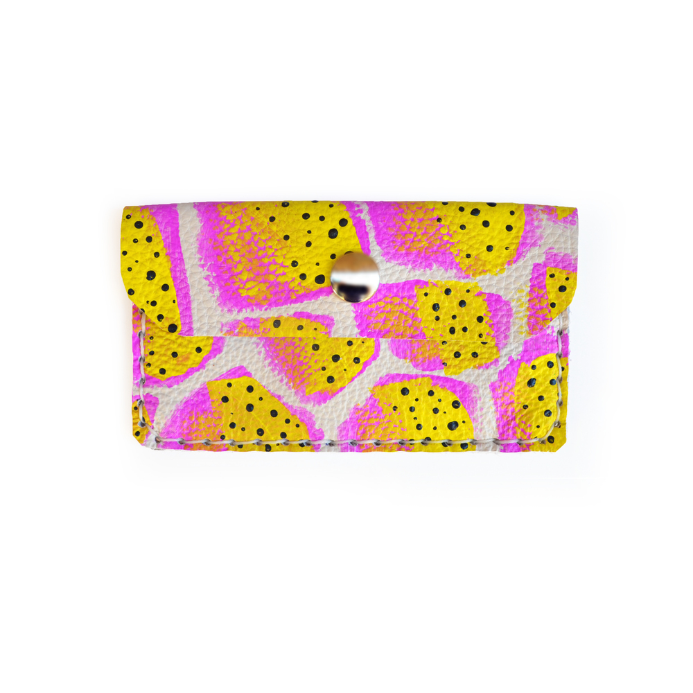 Neon Leather Pouch, Fruit Pattern Coin Purse, Hot Pink and Yellow Wallet, Mini Bag, Painted Abstract Art Bag, Polka Dot Wallet, Business Card Holder.jpg
