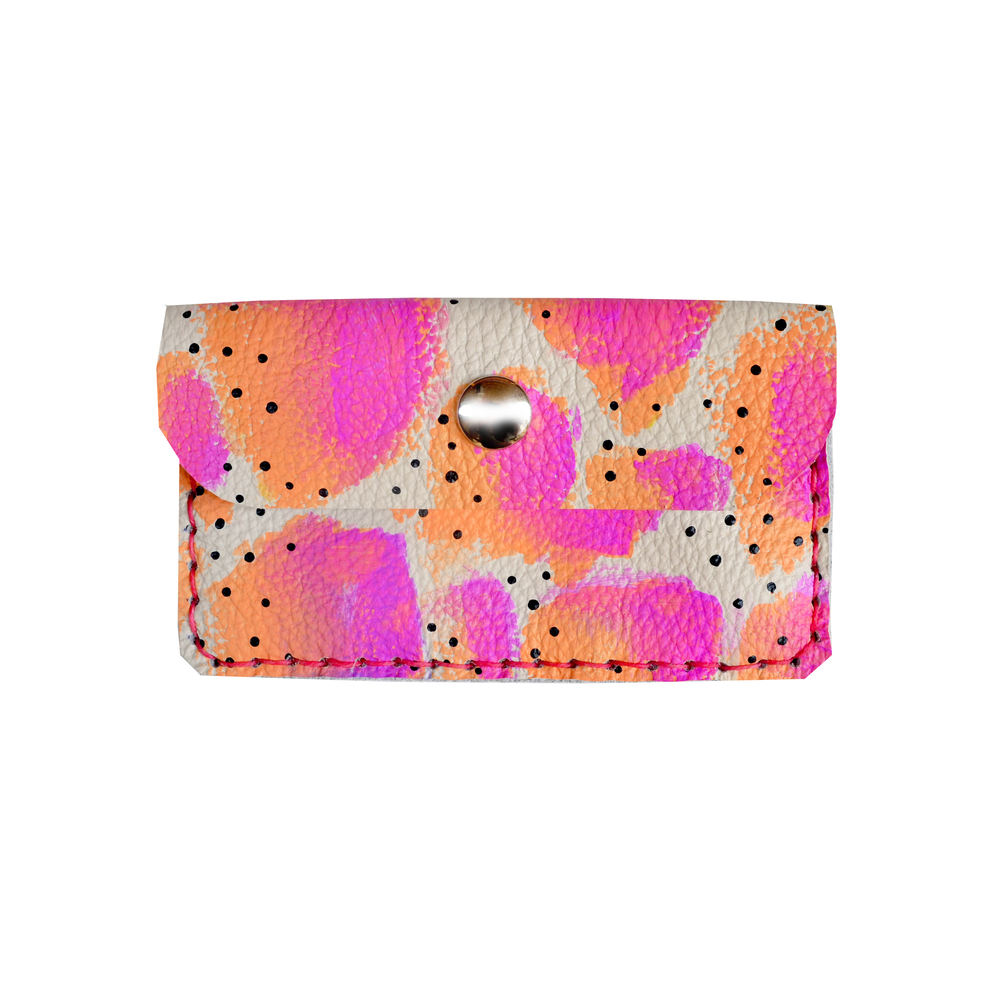 Neon Leather Pouch, Coin Purse, Hot Pink and Peach Wallet, Mini Bag, Painted Abstract Art Bag, Polka Dot Wallet, Business Card Holder.jpg