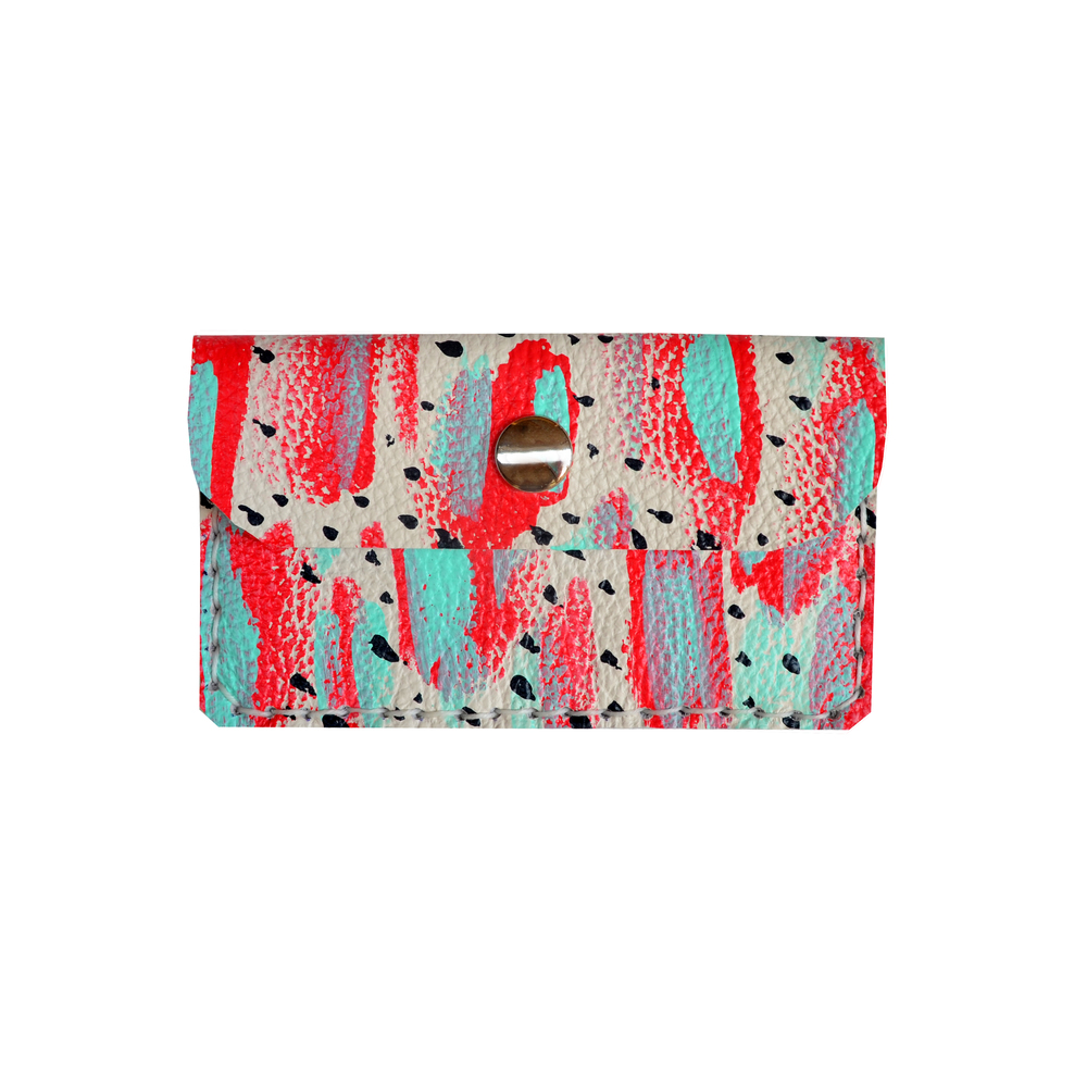 Red and Mint Leather Pouch, Coin Purse, Abstract Art Wallet, Mini Bag, Polka Dot Wallet, Business Card Holder.jpg