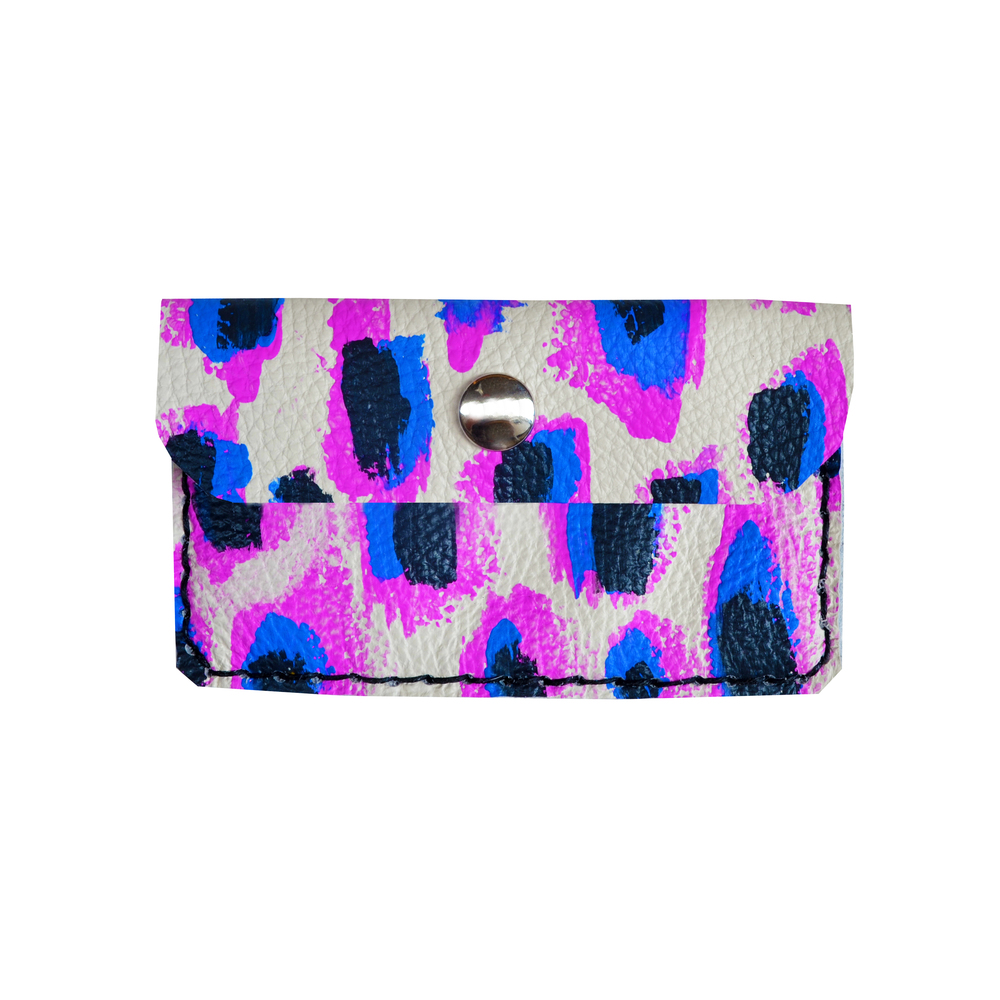 Purple Leather Pouch, Coin Purse, Leopard Print Wallet, Mini Bag, Painted Abstract Art Bag, Radiant Orchid and Cobalt Blue Wallet, Business Card Holder.jpg