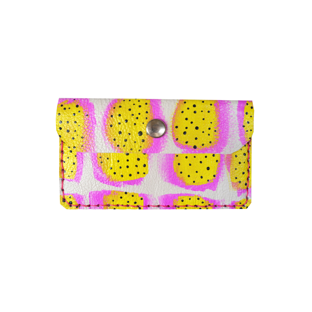 Neon Leather Pouch, Fruit Pattern Coin Purse, Hot Pink and Yellow Wallet, Mini Bag, Painted Abstract Art Bag, Polka Dot Wallet, Business Card Holder 8.jpg