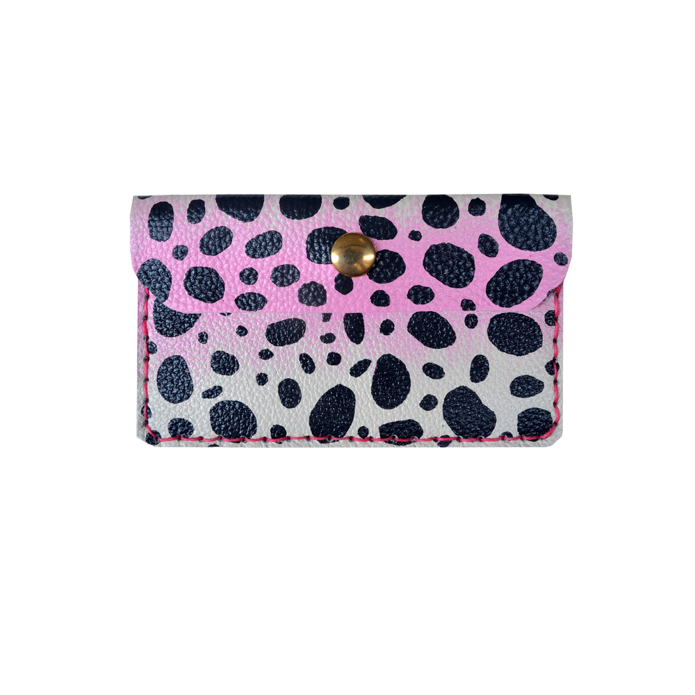 Leather Pouch, Coin Purse, Leopard Polka Dot Print Wallet, Mini Bag, Painted Abstract Art Bag, Pink and Black Wallet, Business Card Holder.jpg