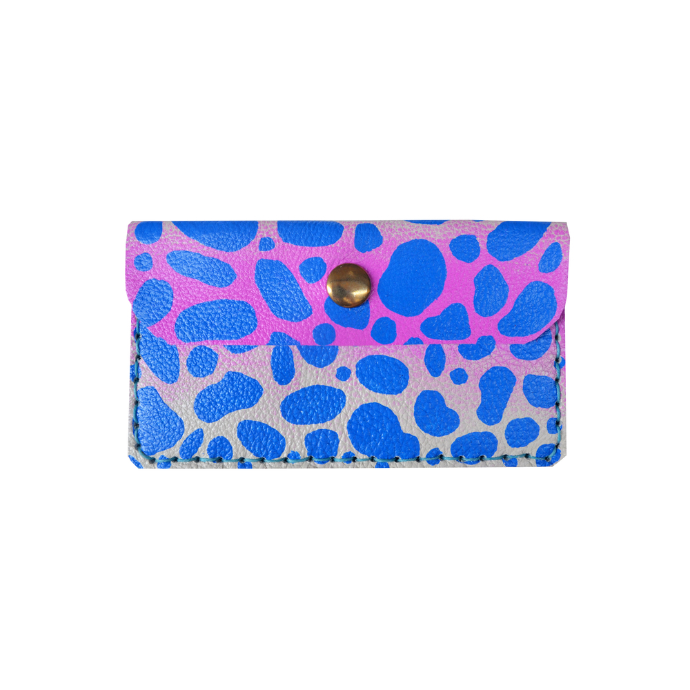 Purple Leather Pouch, Coin Purse, Leopard Polka Dot Print Wallet, Mini Bag, Painted Abstract Art Bag, Radiant Orchid and Cobalt Blue Wallet, Business Card Holder.jpg