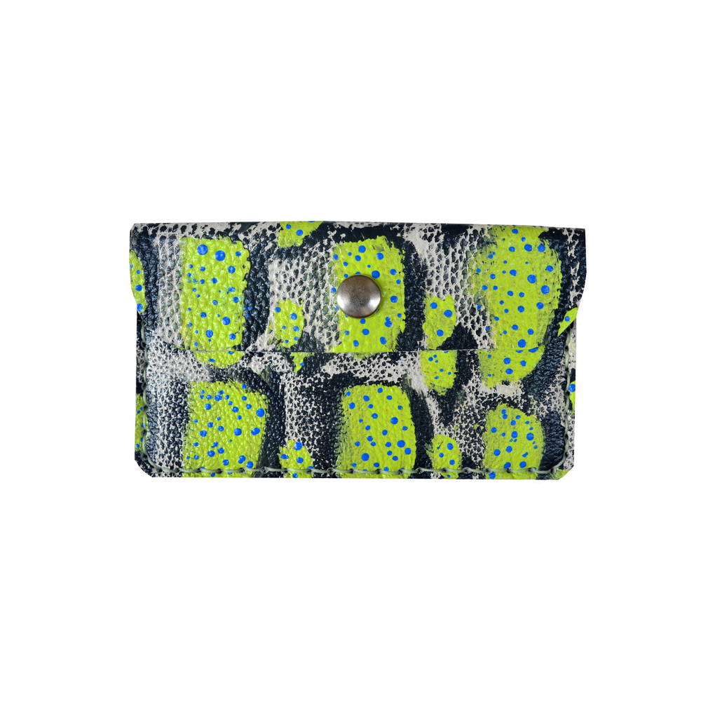 Leather Wallet, Coin Purse, Green, Black and Blue Polka Dot Wallet, Mini Bag, Painted Abstract Art Bag, Polka Dot Wallet, Business Card Holder.jpg