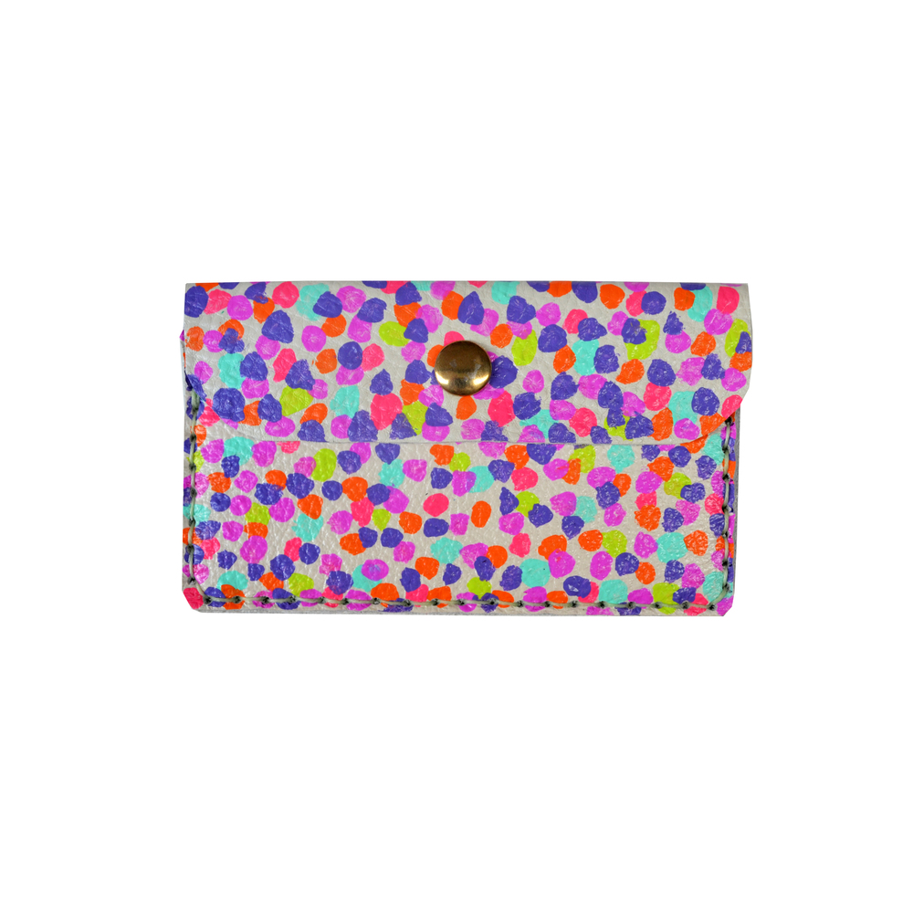 Leather Wallet, Coin Purse, Rainbow Polka Dot Wallet, Mini Bag, Painted Abstract Art Bag, Polka Dot Wallet, Business Card Holder.jpg