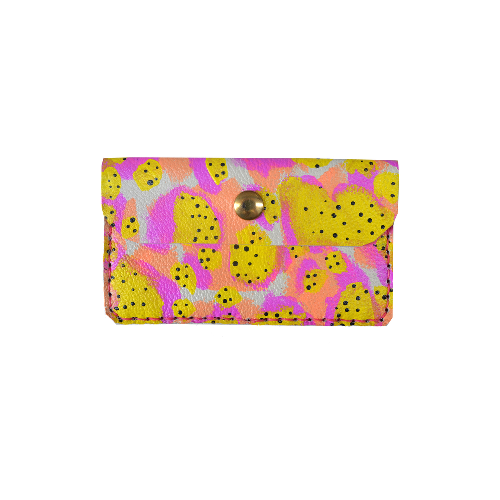Neon Leather Pouch, Coin Purse, Hot Pink, Yellow and Peach Wallet, Mini Bag, Painted Abstract Art Bag, Polka Dot Wallet, Business Card Holder.jpg