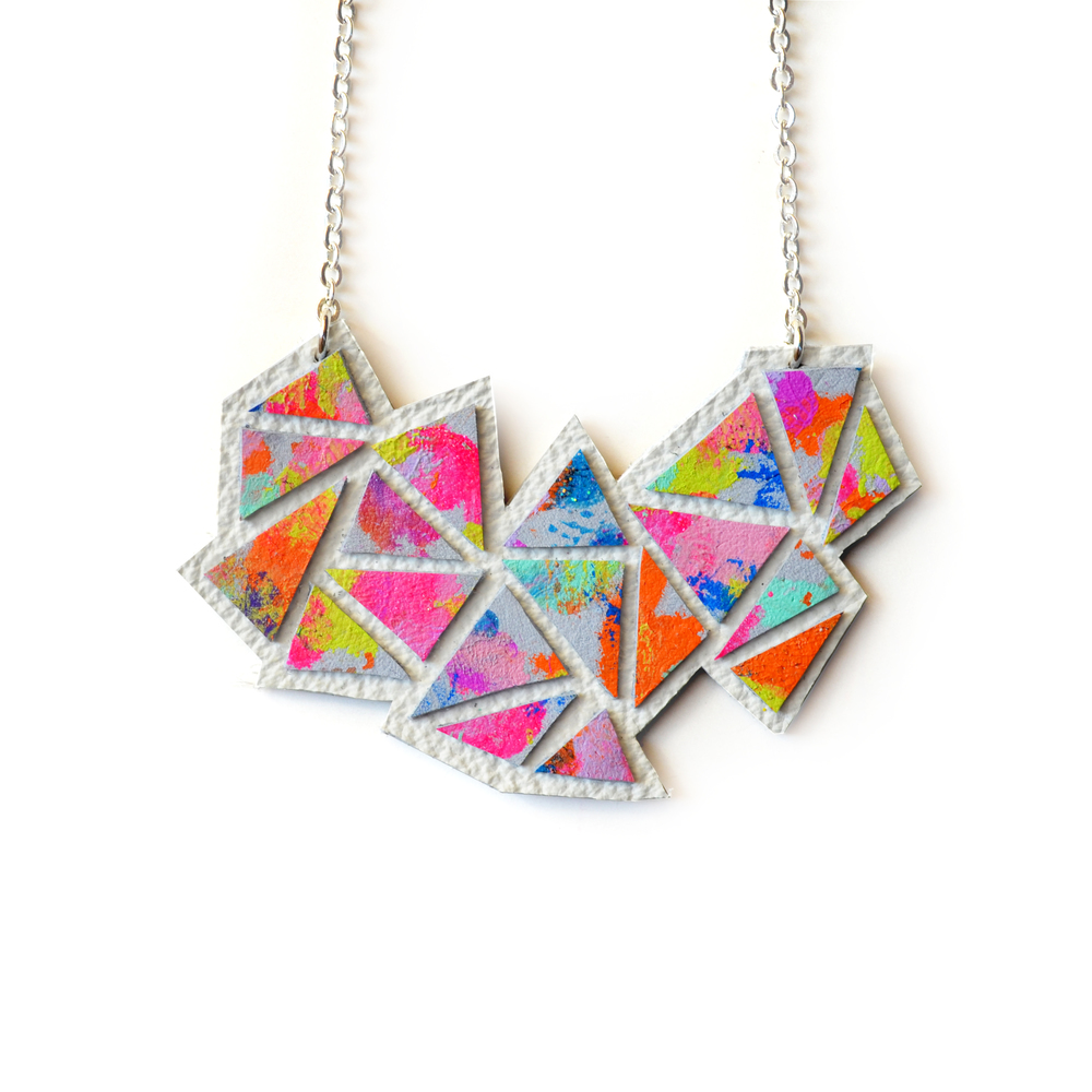 Colorful Geometric Necklace, Rainbow Pendant Necklace, Abstract Art Jewelry, Triangle Chevron Necklace b1.jpg