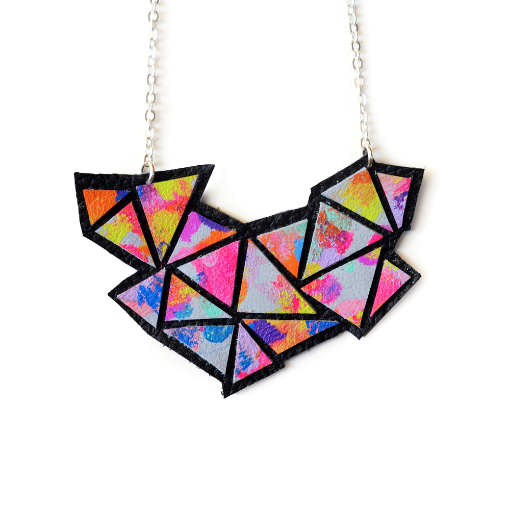 Colorful Geometric Necklace, Rainbow Bib Necklace, Ombre Neon Gradient, Triangle Necklace a4.jpg