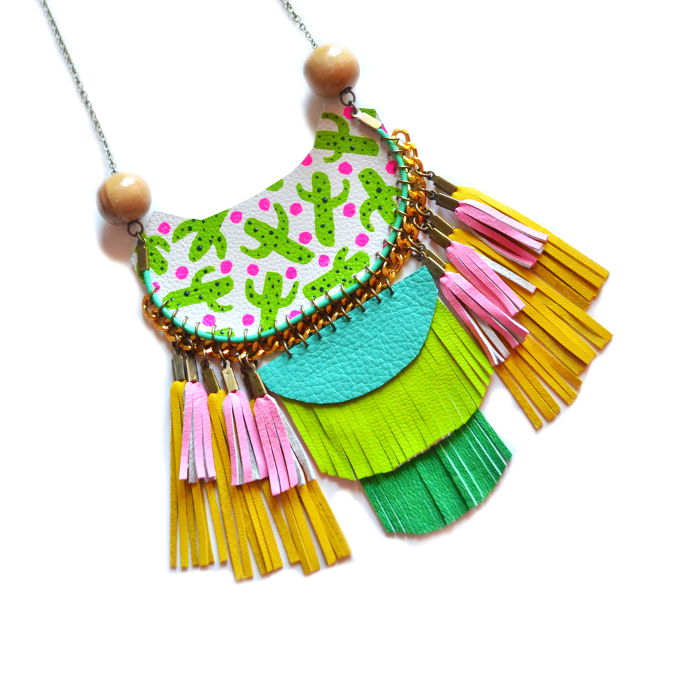 Cactus Statement Necklace, Woven Rope Jewelry, Wood Bead Geometric Necklace, Tassel Necklace in Green, Turquoise and Pink Leather Fringe, Cactus Plant Pattern 2.jpg