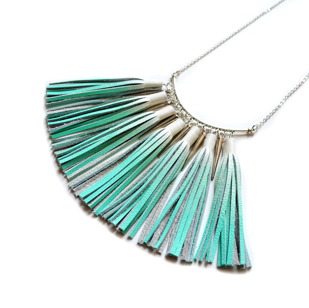 Mint Statement Necklace, Ombre Tassel Necklace, Leather Tassel Jewelry, Silver Necklace, Geometric Necklace, Teal Turquoise Bib Necklace 3.jpg