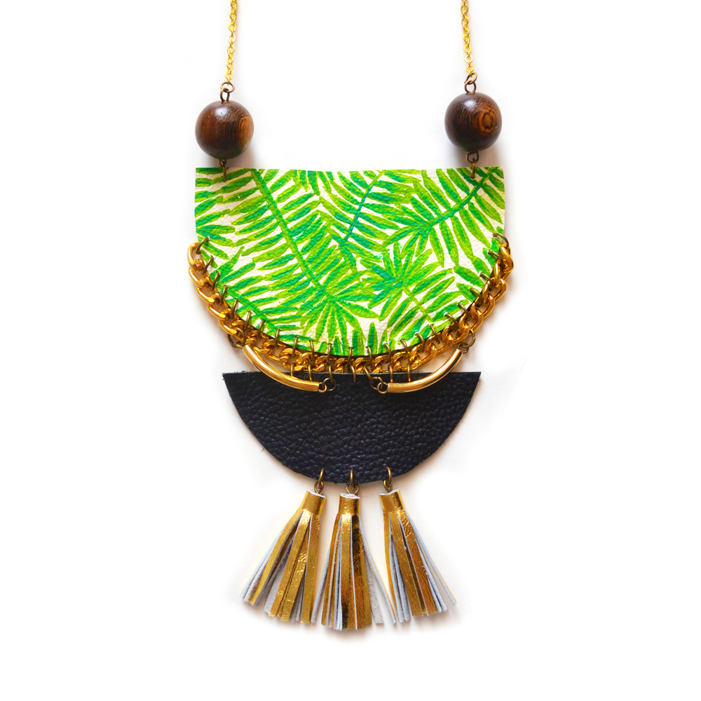 Statement Necklace, Palm Leaf Necklace, Wood and Brass Necklace, Geometric Leather Necklace, Gold Tassel Necklace, Tribal Crescent Necklace, Tropical Plant Jewelry 7.jpg