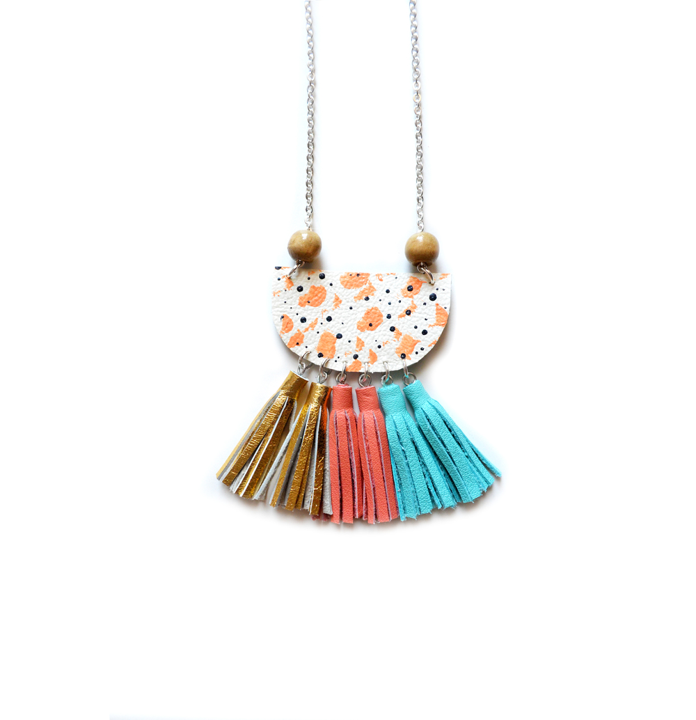 Leather Pendant Necklace, Pastel Coral Necklace, Small Bib Necklace, Tassel Necklace, Wood Pendant Necklace.jpg