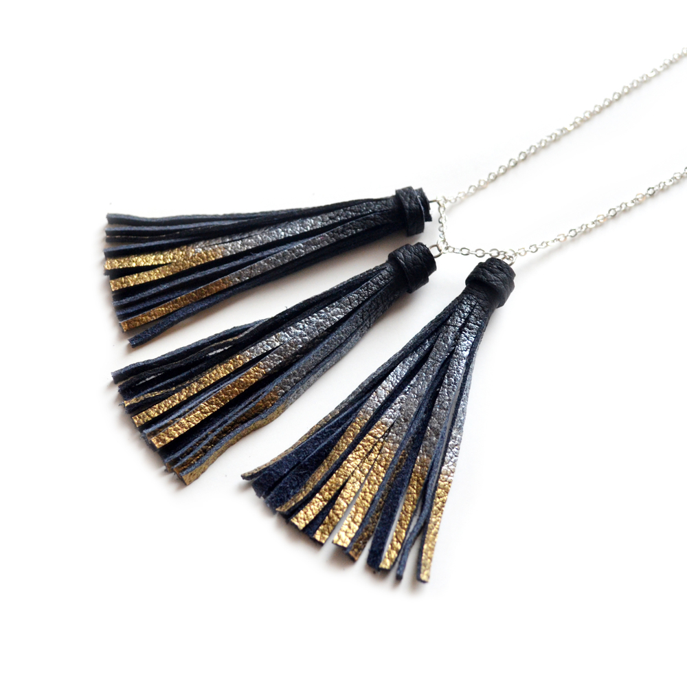 Black Tassel Necklace, Gold and Silver Dipped Necklace, Metallic Leather Necklace, Simple Minimalist Modern Jewelry 3.jpg
