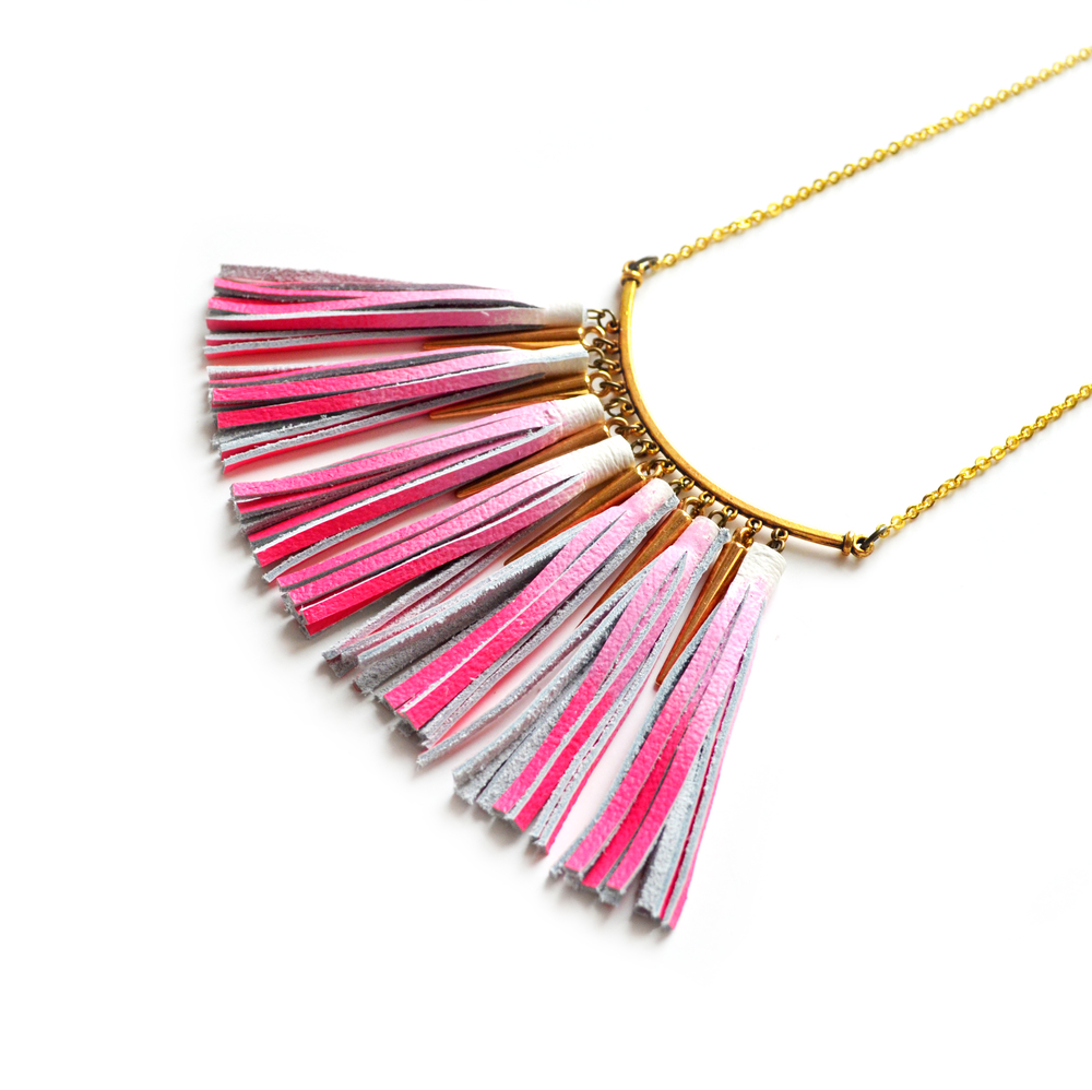 Pink Statement Necklace, Ombre Tassel Necklace, Leather Tassel Jewelry, Brass Geometric Necklace, Neon Bib Necklace 3.jpg