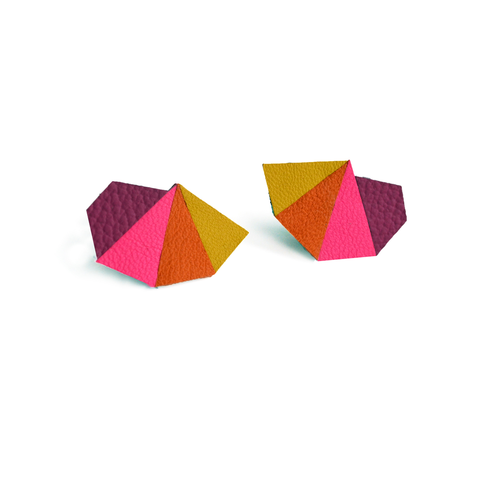 Leather Post Stud Earrings, Purple Pink Orange and Yellow Earrings, Triangle Studs, Geometric Earrings, Geometric Jewelry 2.jpg