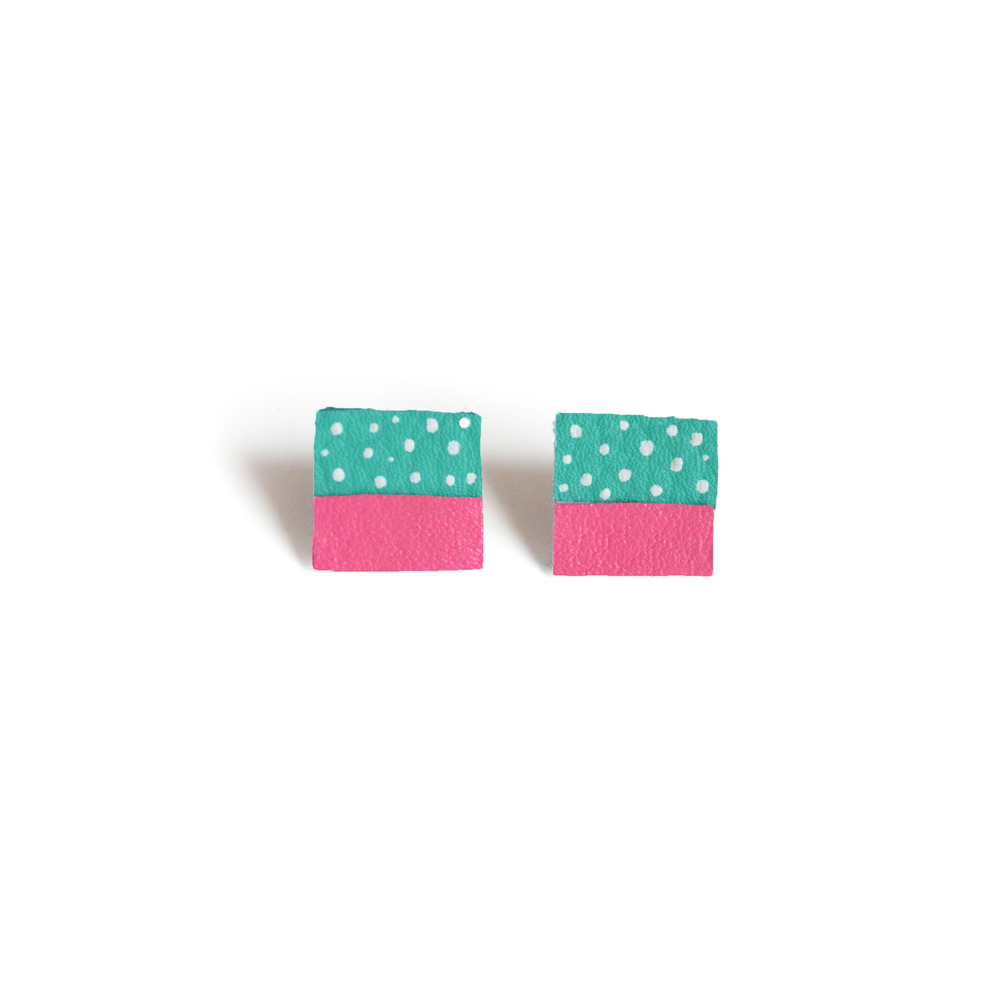 Square Post Stud Earrings, Geometric Earrings, Teal and Pink Polka Dot Pattern Jewelry 2.jpg