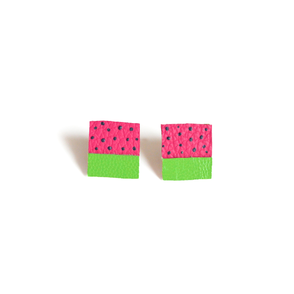 Square Post Stud Earrings, Geometric Earrings, Pink Watermelon Polka Dot Pattern Jewelry.jpg