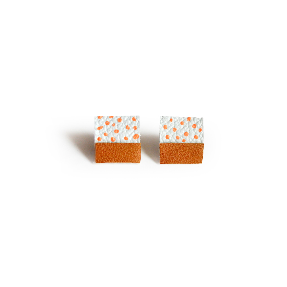 Square Post Stud Earrings, Geometric Earrings, Brown and Peach Polka Dot Pattern Jewelry 2.jpg