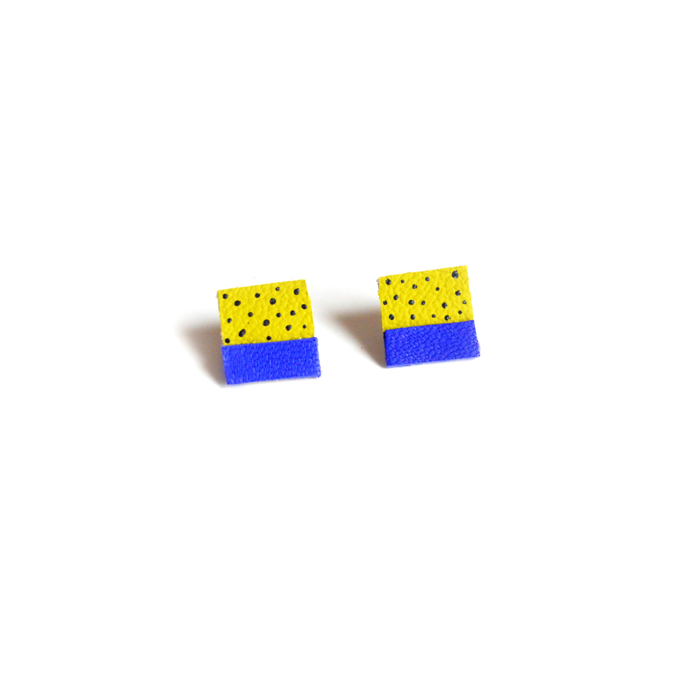 Square Post Stud Earrings, Geometric Earrings, Blue and Green Polka Dot Pattern Jewelry 3.jpg