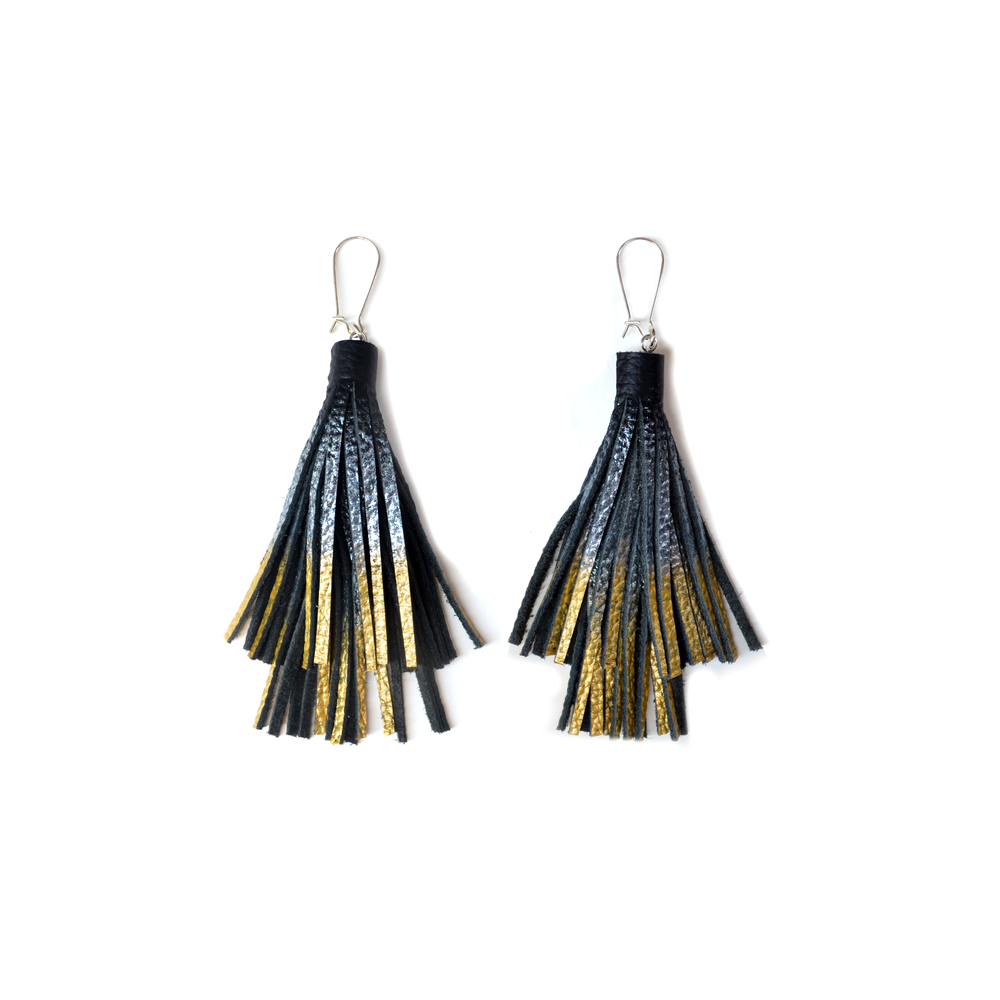Silver Gold Dipped Leather Earrings, Large Statement Earrings, Black Tassel Earrings, Ombre Metallic Fringe Earrings 4.jpg
