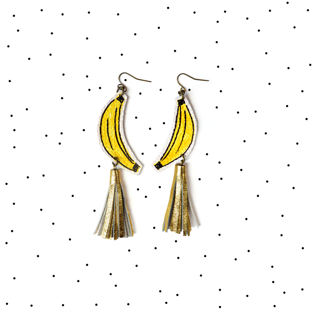 Banana Earrings, Gold Tassel Earrings, Fruit Earrings, Yellow and Gold Earrings, Pop Art Earrings, Statement Earrings 6.jpg