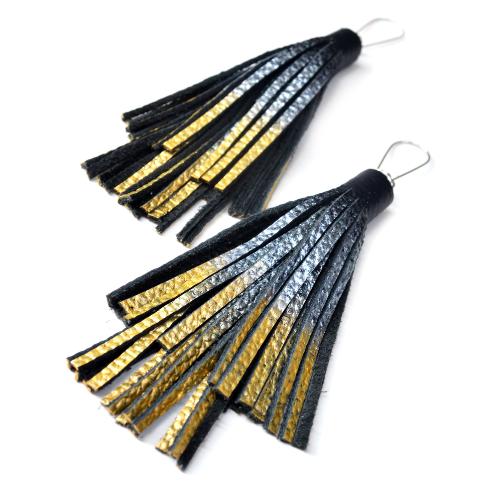 Silver Gold Dipped Leather Earrings, Large Statement Earrings, Black Tassel Earrings, Ombre Metallic Fringe Earrings 3.jpg