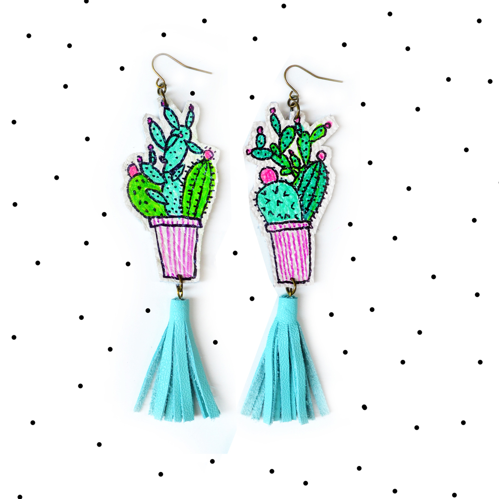 Cactus Earrings, Mint Earrings, Teal Tassel Earrings, Green Plant Earrings, Leaf Earrings, Long Statement Earrings, Illustration Earrings 6.jpg