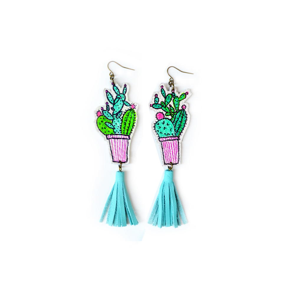 Cactus Earrings, Mint Earrings, Teal Tassel Earrings, Green Plant Earrings, Leaf Earrings, Long Statement Earrings, Illustration Earrings 3.jpg