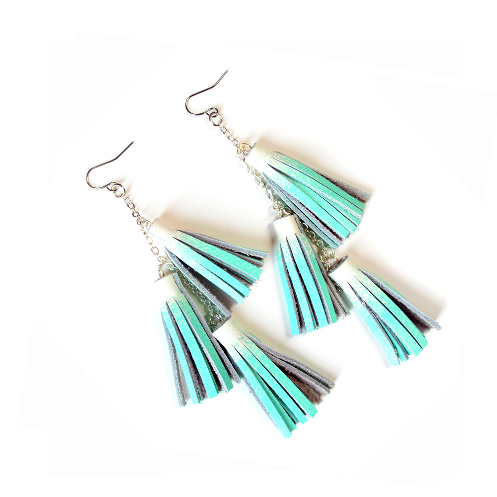 Mint Earrings, Tassel Earrings, Fringe Statement Earrings, Leather Earrings, Long Earrings 4.jpg