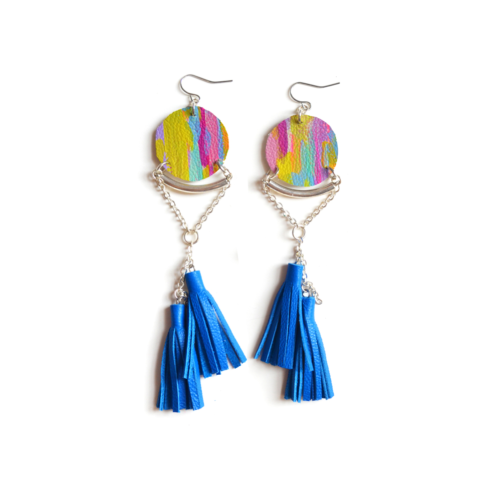 Blue Tassel Earrings, Circle Leather Earrings, Abstract Painted Earrings, Silver Geometric Earrings, Long Statement Earrings 2.jpg