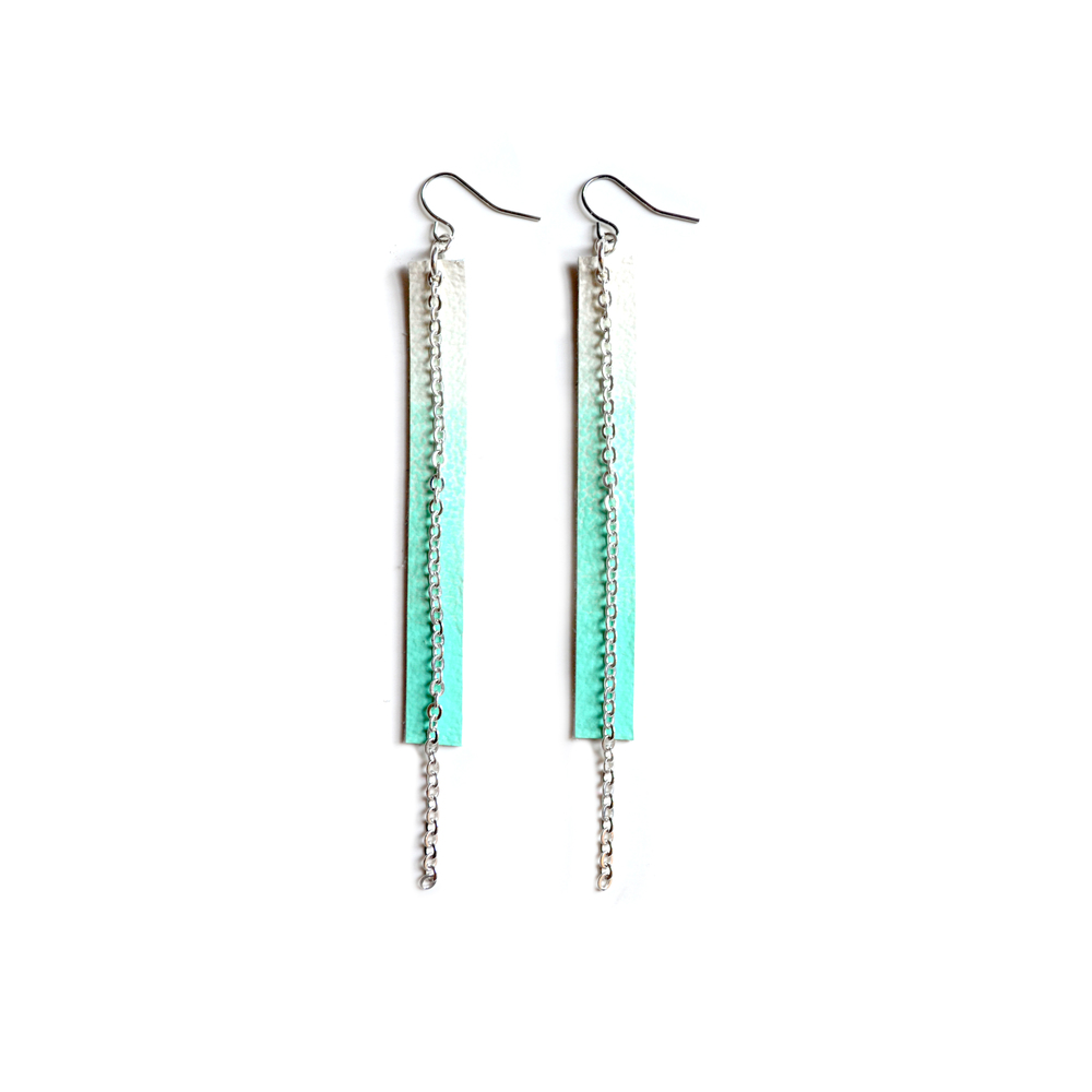 Long Mint Earrings, Geometric Earrings, Teal and White Ombre Long Earrings, Chain Earrings 4.jpg