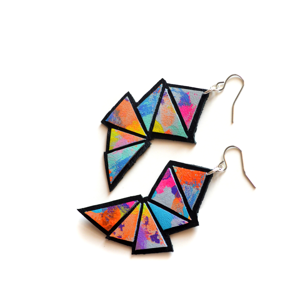 Ombre Triangle Leather Earrings, Bold Dangle Earrings, Neon Faceted Geometric Jewelry 4.jpg