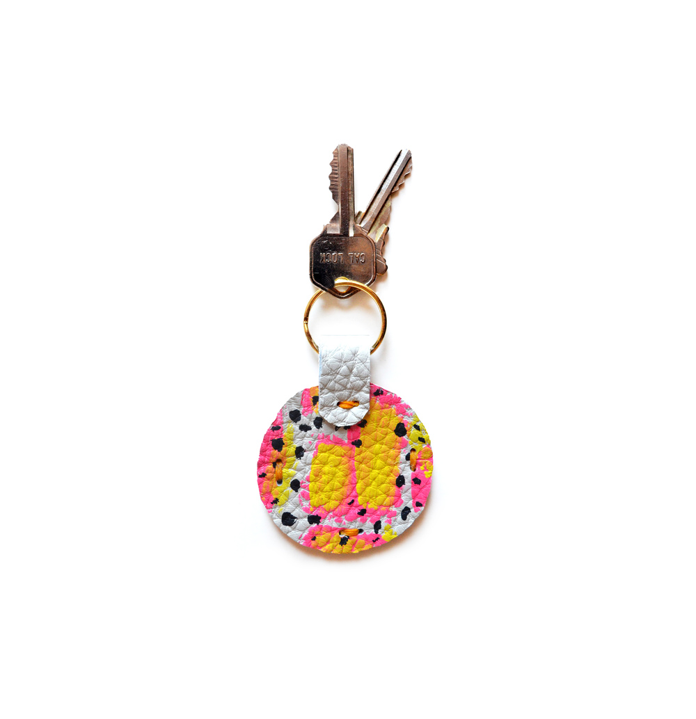 Leather Key Chain, Key Fob, Pink and Yellow Colorful Modern Key Chain, Geometric Painted Custom Key Chain 2.jpg