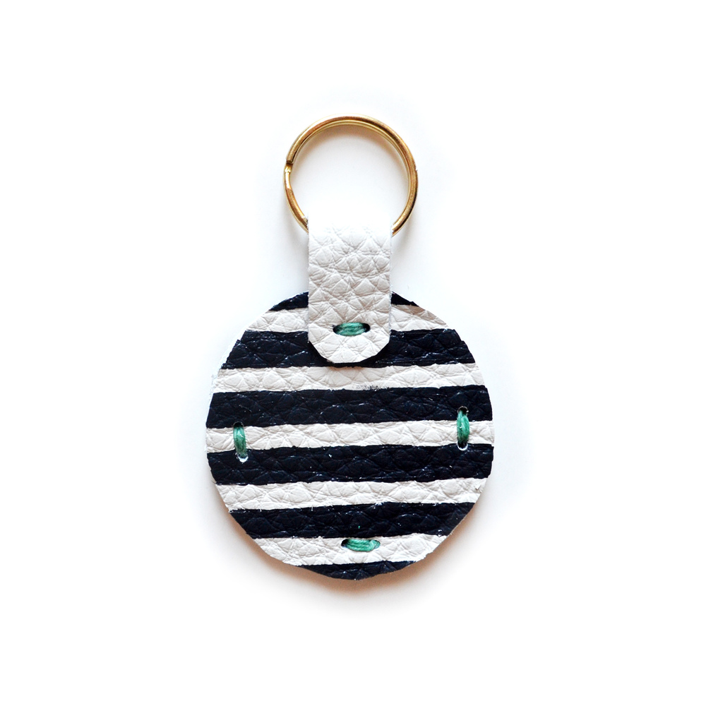 Leather Key Chain, Key Fob, Stripe Modern Key Chain, Geometric Painted Custom Key Chain 3.jpg