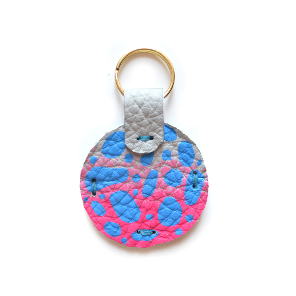 Leather Key Chain, Key Fob. Pink Ombre and Blue Colorful Modern Key Chain, Geometric Painted Custom Key Chain 3.jpg
