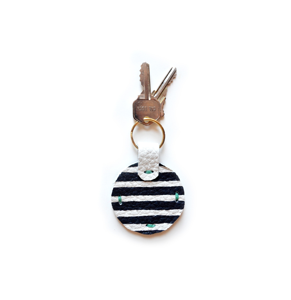 Leather Key Chain, Key Fob, Stripe Modern Key Chain, Geometric Painted Custom Key Chain.jpg
