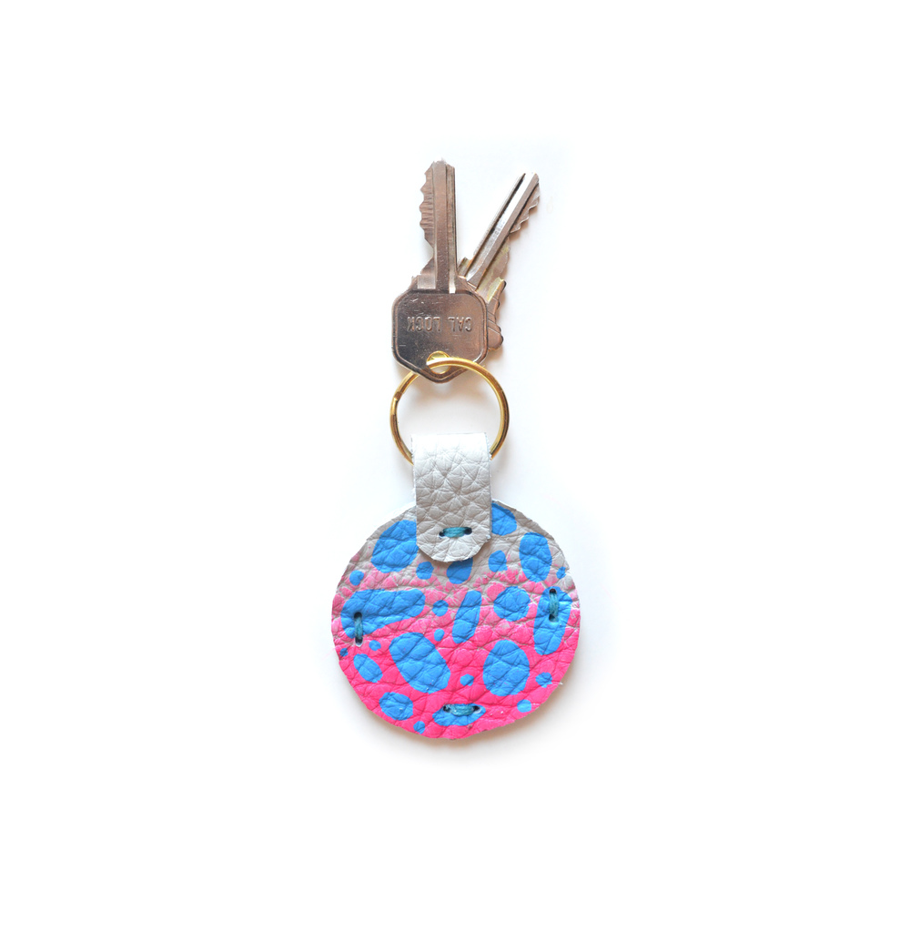 Leather Key Chain, Key Fob. Pink Ombre and Blue Colorful Modern Key Chain, Geometric Painted Custom Key Chain.jpg