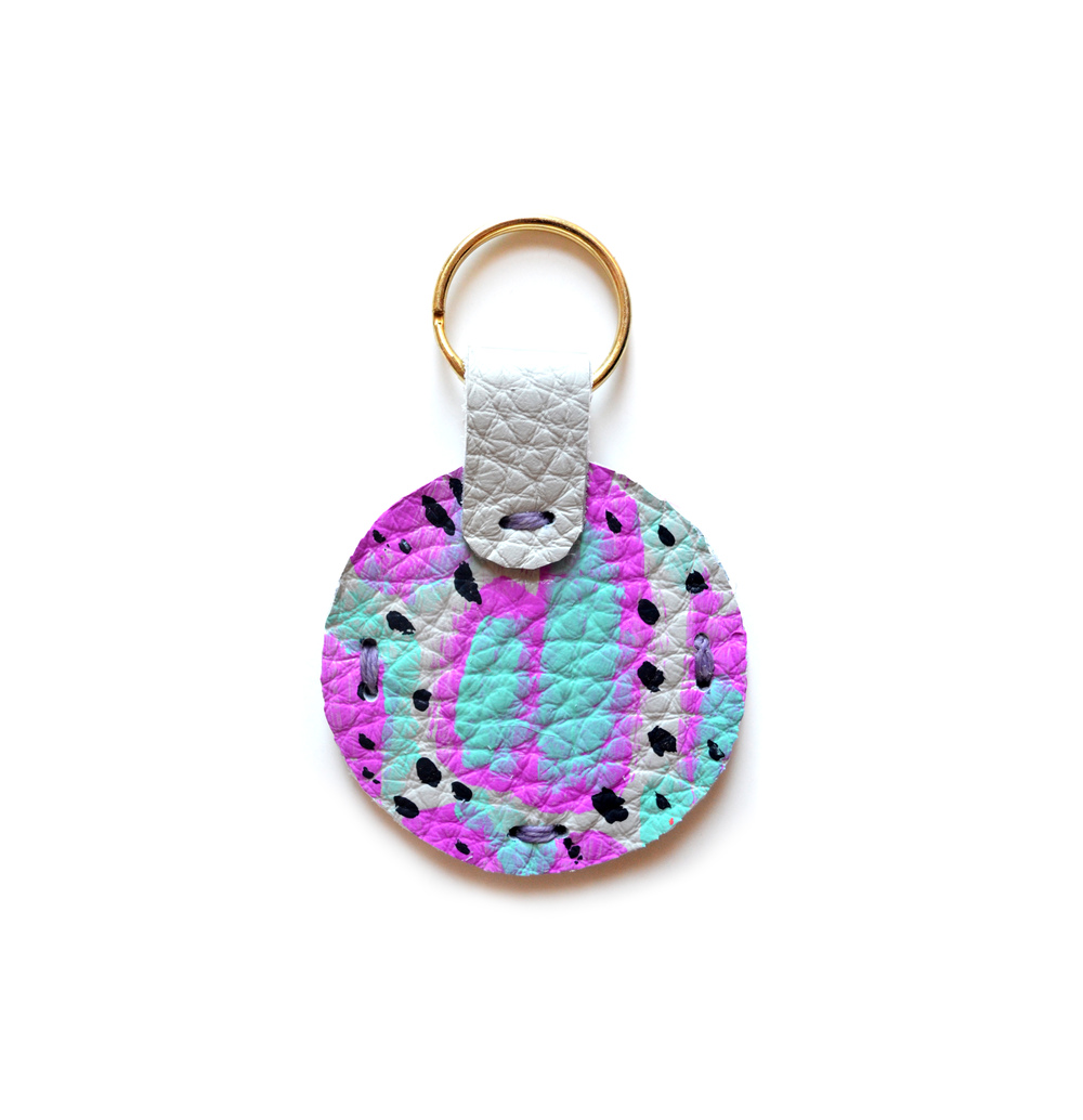 Leather Key Chain, Mint Key Chain, Blue and Magenta Colorful Modern Key Chain, Geometric Painted Custom Key Chain 2.jpg
