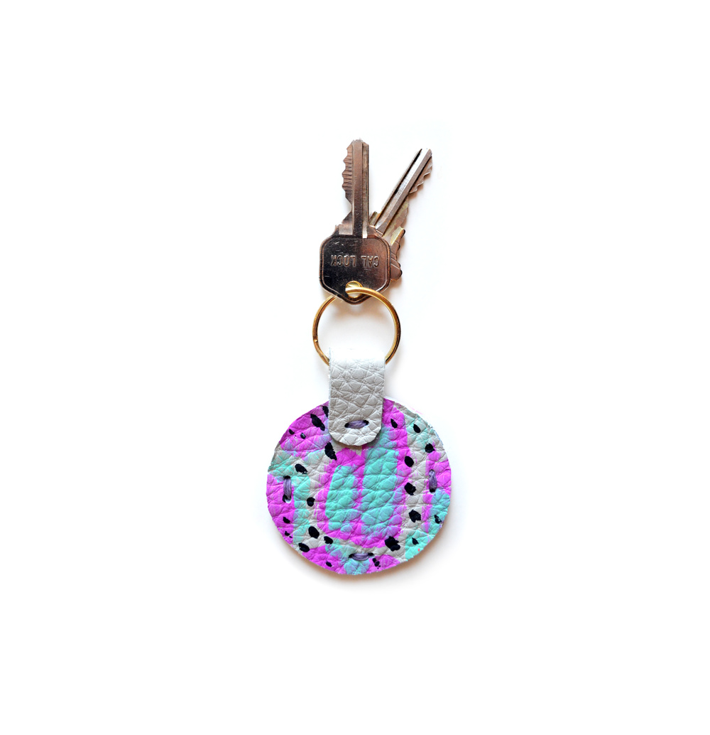 Leather Key Chain, Mint Key Chain, Blue and Magenta Colorful Modern Key Chain, Geometric Painted Custom Key Chain.jpg
